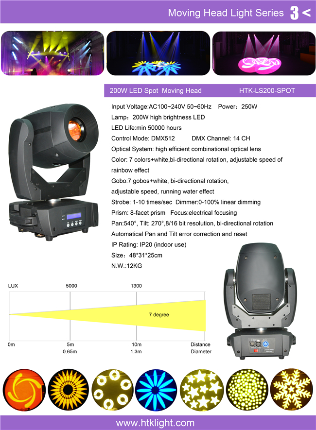 Electrical Focusing 200W LED Spot Moving Head Light Adjustable Speed Gobo Wheel
